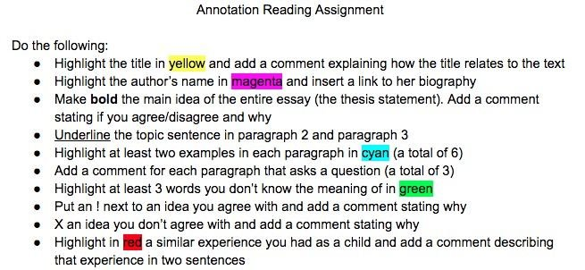 Ways to Annotate Readings, Websites and Online Articles with
